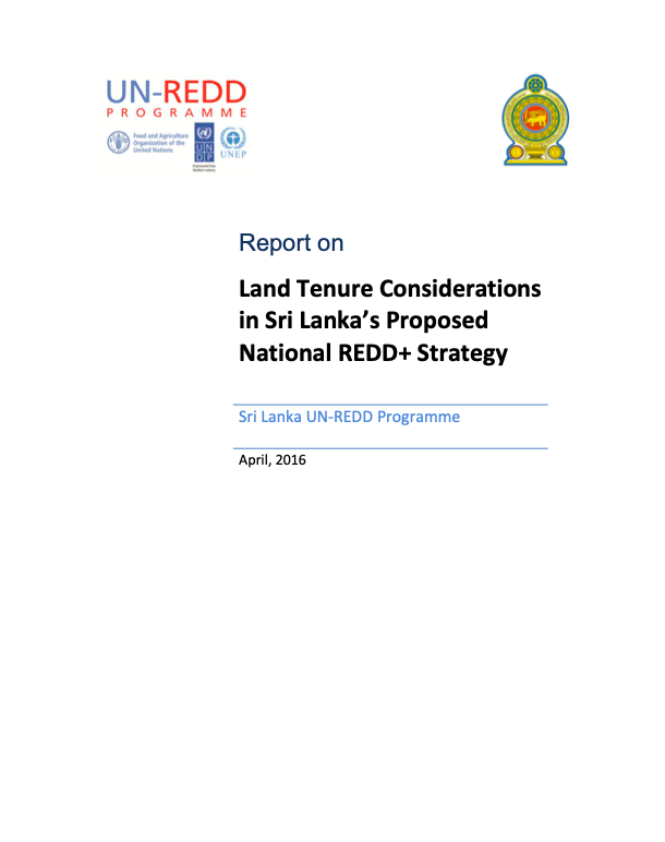 Land Tenure Considerations in Sri Lanka's Proposed National REDD+ Strategy