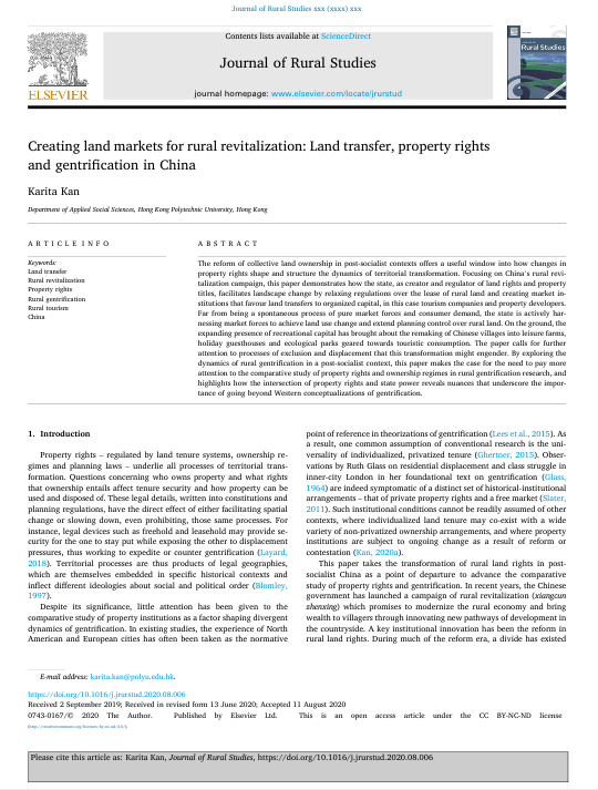 Creating land markets for rural revitalization: Land transfer, property rights and gentrification in China