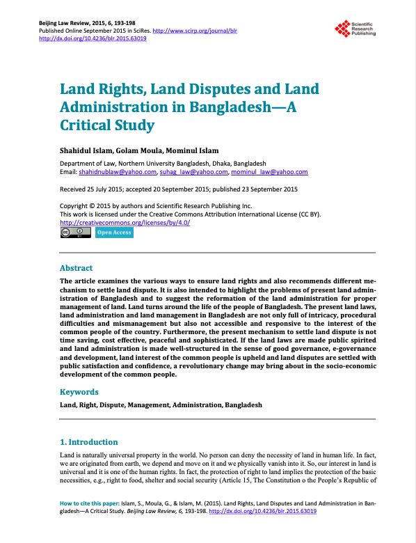 Land Rights, Land Disputes and Land Administration in Bangladesh—A Critical Study
