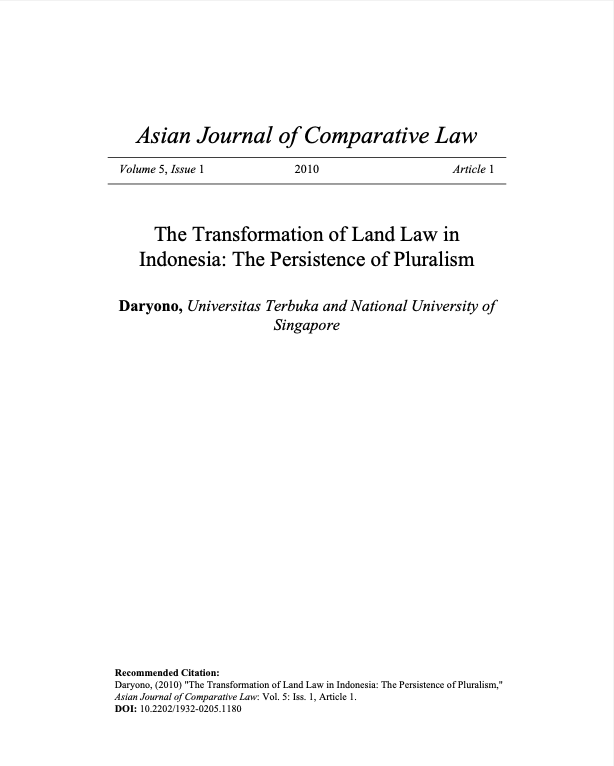 The Transformation of Land Law in Indonesia: The Persistence of Pluralism