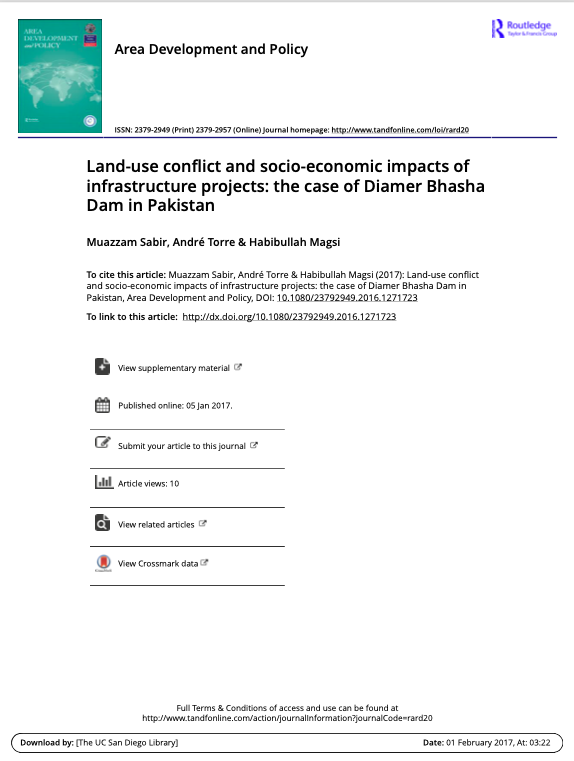 Land-use conflict and socio-economic impacts of infrastructure projects: the case of Diamer Bhasha Dam in Pakistan