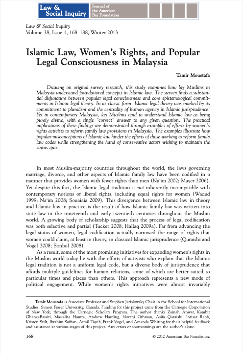 Islamic Law, Women's Rights, and Popular Legal Consciousness in Malaysia