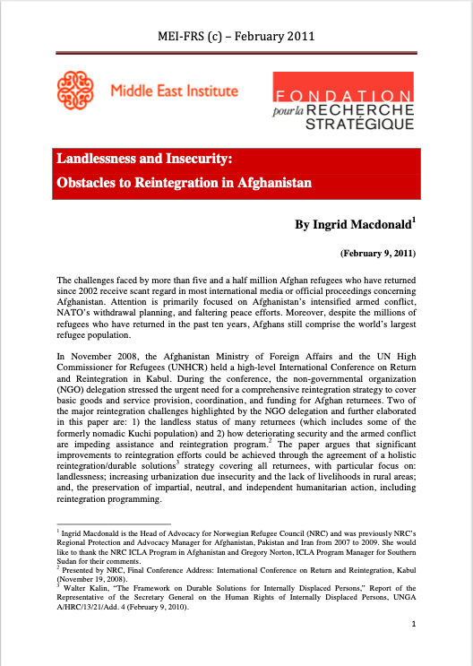 Landlessness and Insecurity: Obstacles to Reintegration in Afghanistan