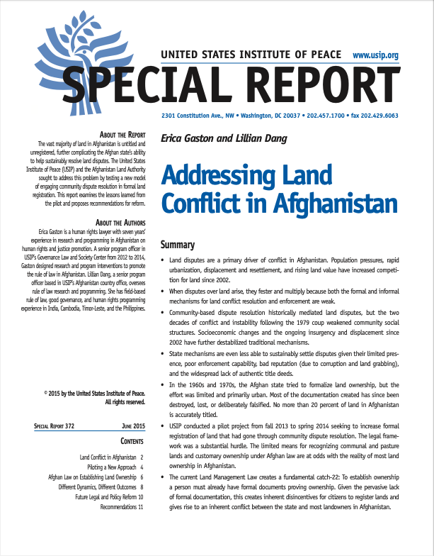 Addressing Land Conflict in Afghanistan