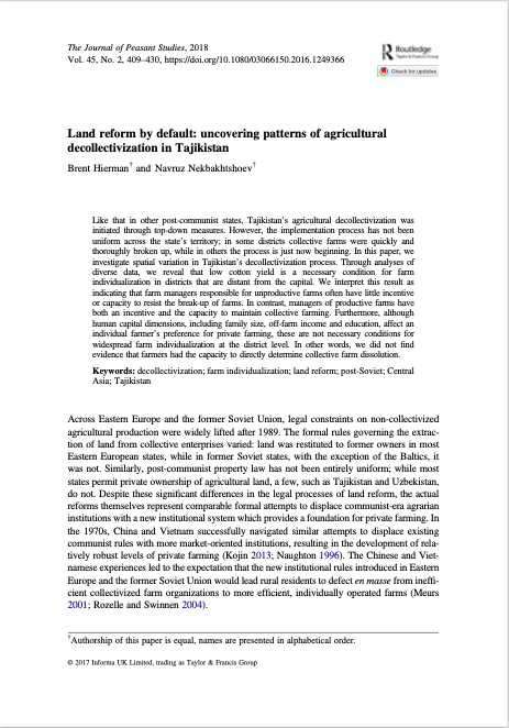 Land reform by default: uncovering patterns of agricultural decollectivization in Tajikistan