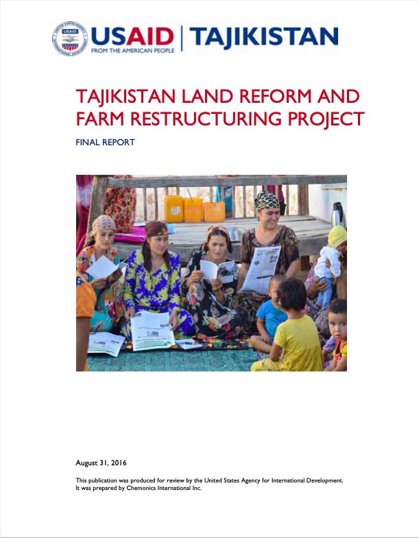 TAJIKISTAN LAND REFORM AND FARM RESTRUCTURING PROJECT