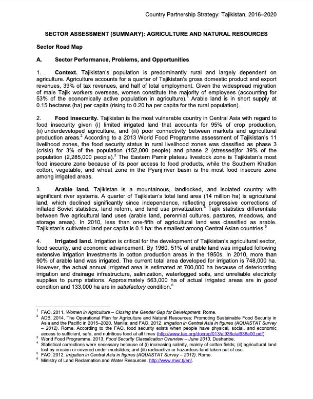 Country Partnership Strategy: Tajikistan, 2016–2020