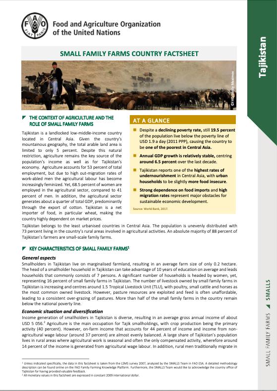 Small Family Farms Country Factsheet: Tajikistan