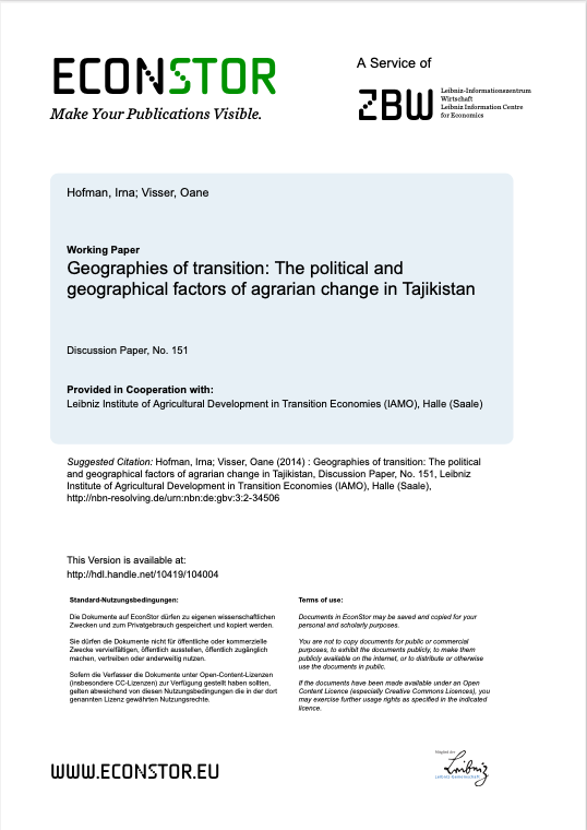 Geographies of transition: The political and geographical factors of agrarian change in Tajikistan