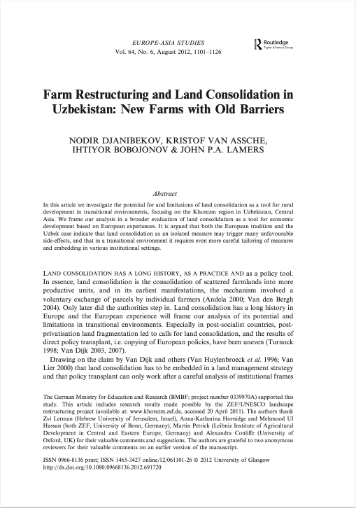 Farm Restructuring and Land Consolidation in Uzbekistan: New Farms with Old Barriers