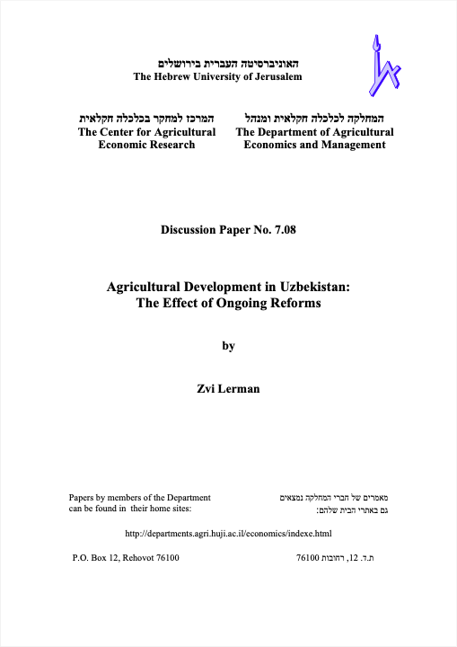 Agricultural Development in Uzbekistan: The Effect of Ongoing Reforms