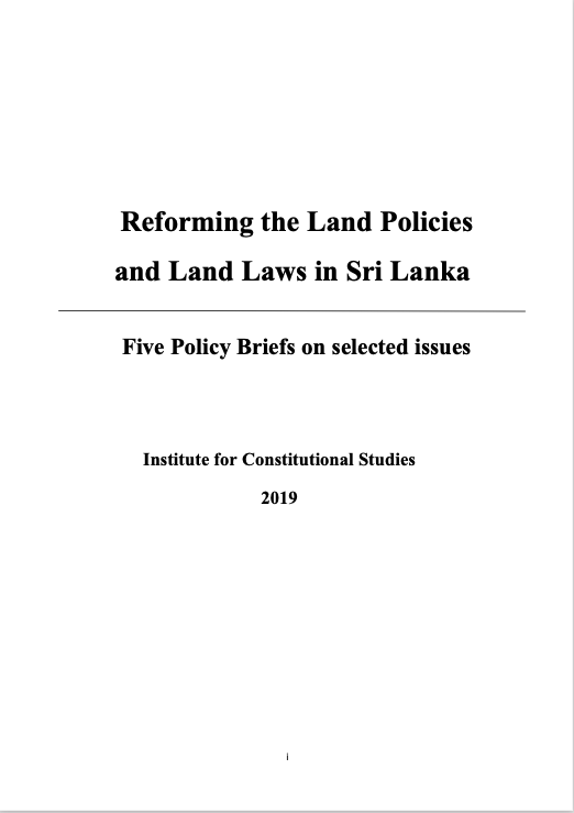 Reforming the Land Policies and Land Laws in Sri Lanka