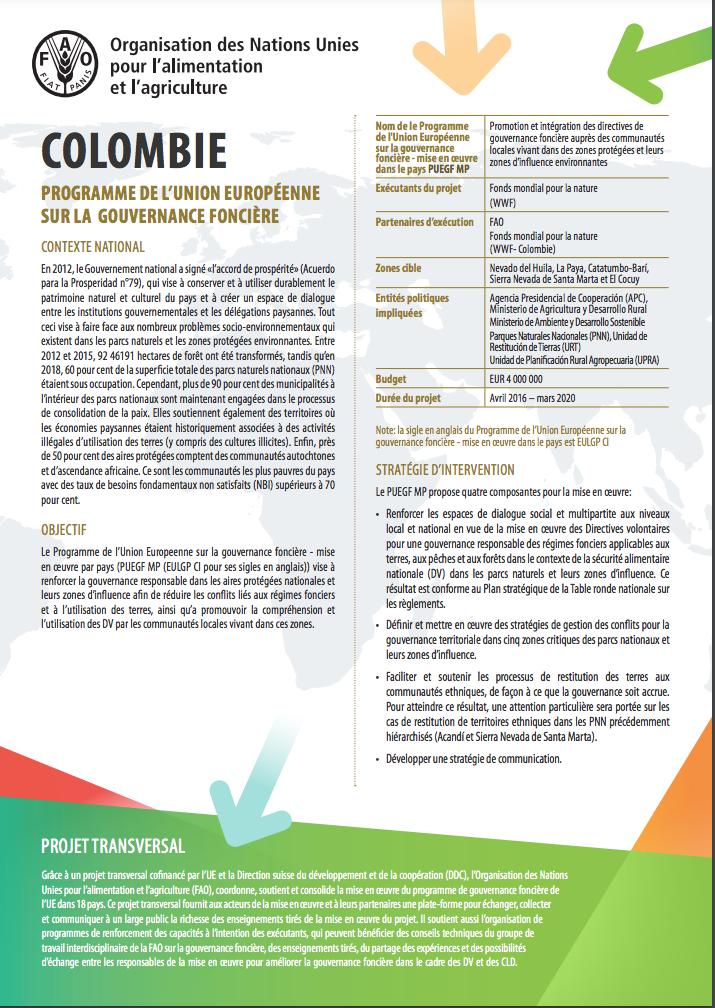 Support transversal de l'UE à la mise en oeuvre dans les pays - Colombie