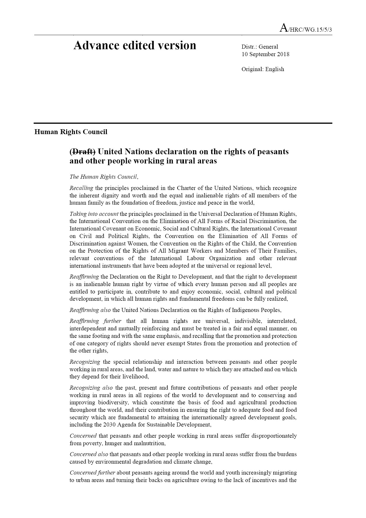 United Nations declaration on the rights of peasants and other people working in rural areas