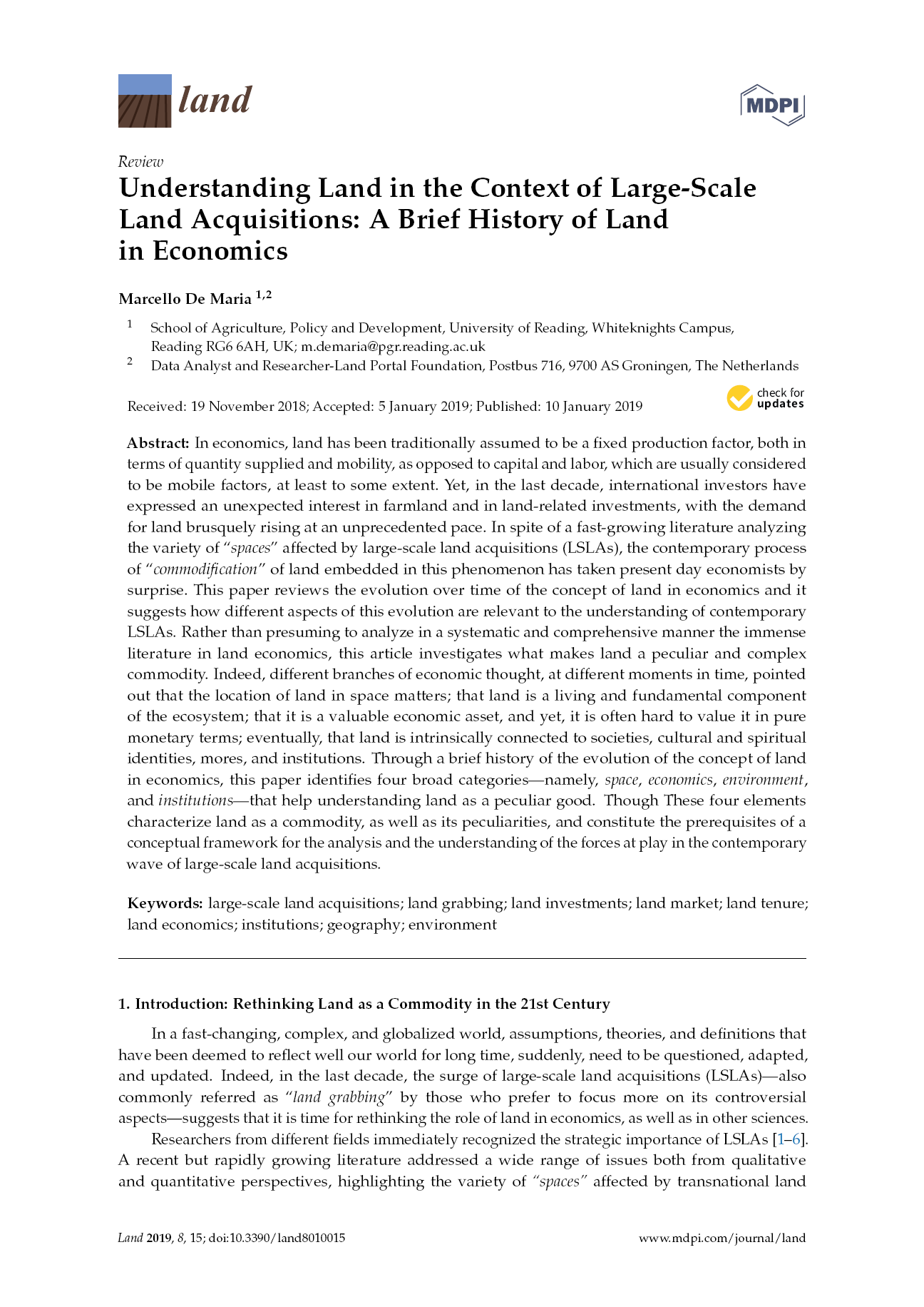 Understanding Land in the Context of Large-Scale Land Acquisitions: A Brief History of Land in Economics
