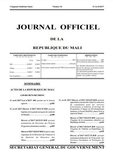 journal officiel Mali