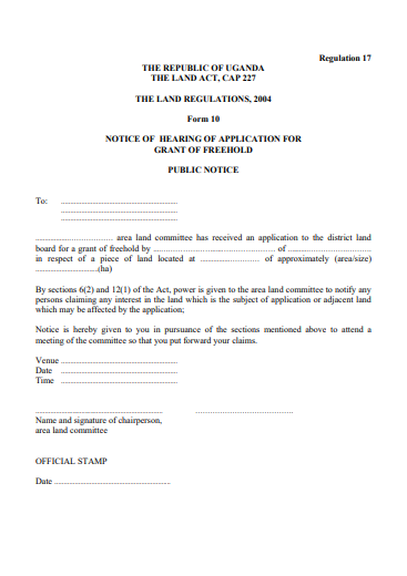 THE LAND REGULATIONS, 2004 Form 10