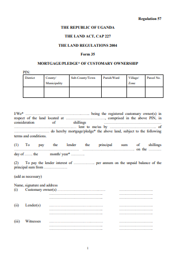 THE LAND REGULATIONS 2004 Form 35