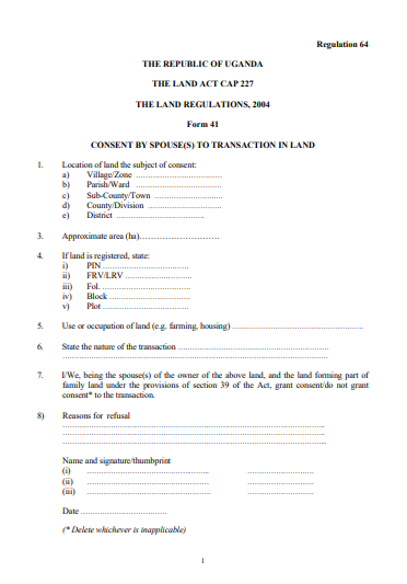 THE LAND REGULATIONS, 2004 Form 41