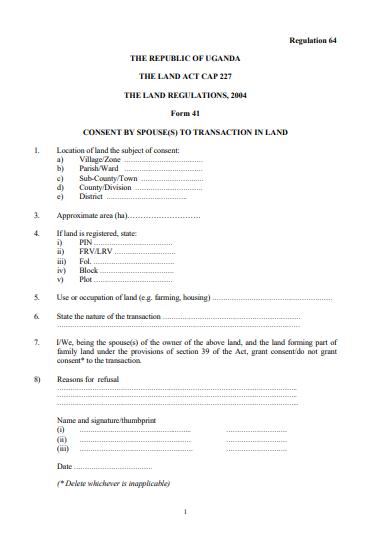 THE LAND REGULATIONS, 2004 Form 41
