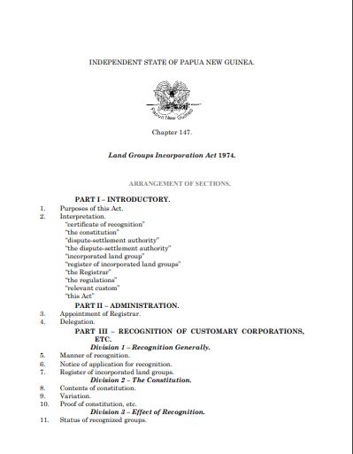 PNG land group incorporation act