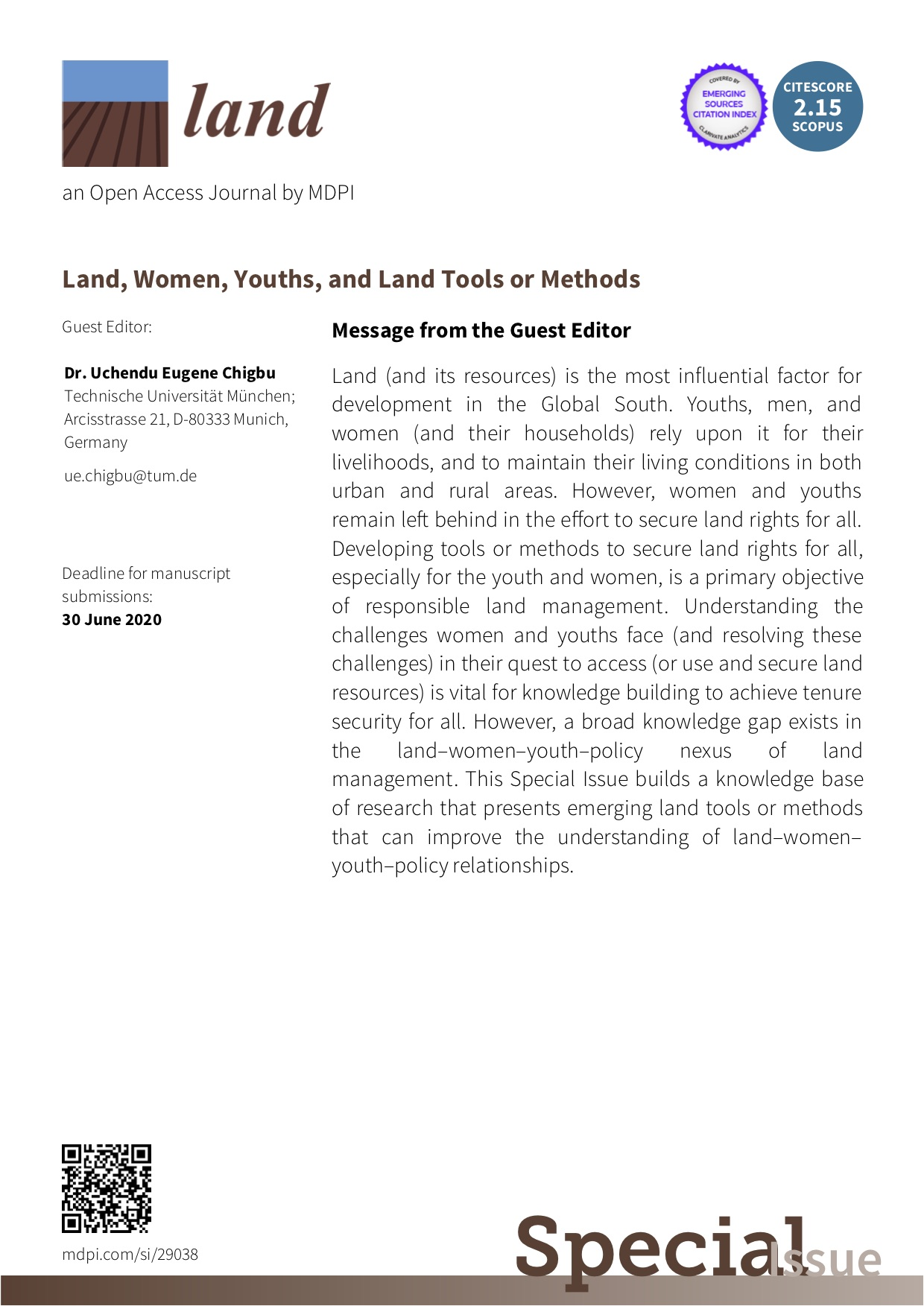 "Invitation to submit to a special issue publication on ""LAND, WOMEN, YOUTHS, AND LAND TOOLS OR METHODS"""