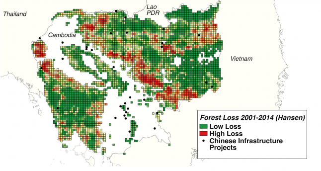 This map draws on Chinese infrastructure project location data from AidData and forest cover loss data from Hansen et al. (2013).