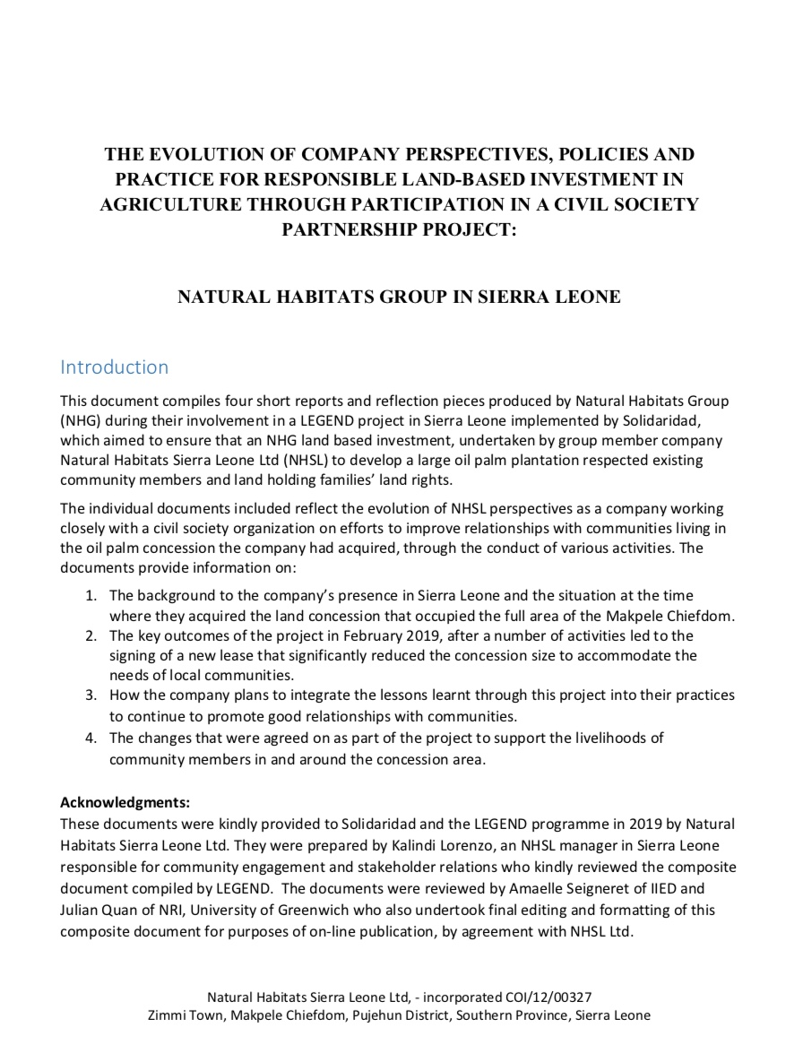 Natural Habitats Group in Sierra Leone: Evolution of Company Perspectives, Policies and Practice
