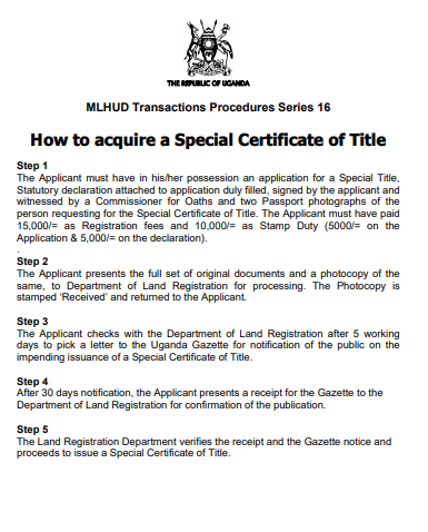 How to acquire a Special Certificate of Title