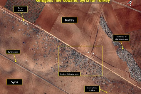 KOBANE, SYRIA AND SYRIA TURKEY BORDER REGION - OCTOBER 15, 2014: Satellite data shows abandoned cars as refugees flee from Syria. Satellites have the ability to map out the flow of refugees, and can be used for humanitarian purposes. (Photo GETTY)