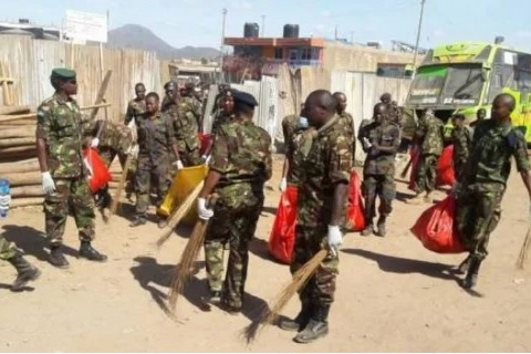 KDF 78 Battalion engage in a cleaning exercise in Isiolo Town.FACEBOOK