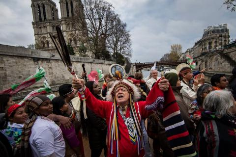 Indigenous representatives campaign to draw attention to the plight of tribes facing climate change at the conference in Paris last year. Photograph: Ian Langsdon/EPA