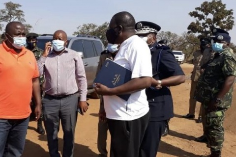 Minister of Lands Kezzie Msukwa visited the site at Police C Company with Minister of Homelands Security Richard Chimwendo