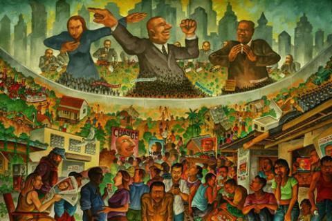 Illustration of populist leaders and rural scenes