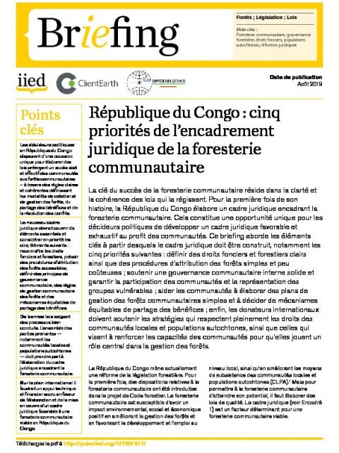 République du Congo : cinq priorités de l'encadrement juridique de la foresterie communautaire