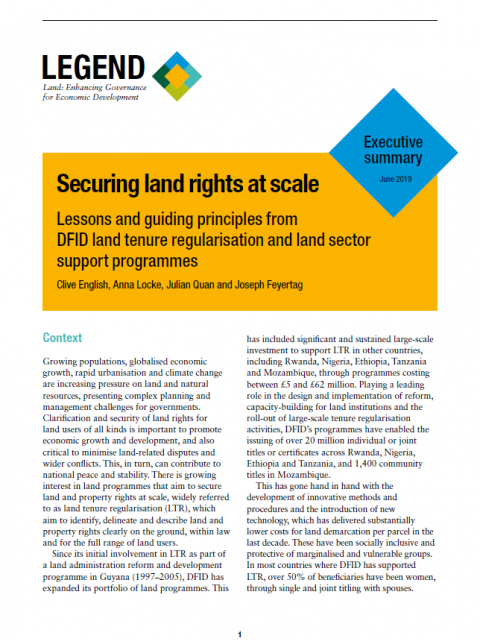 Securing land rights at scale executive summary cover