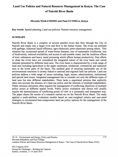 Land Use Policies and Natural Resource Management in Kenya: The Case of Nairobi River Basin cover image