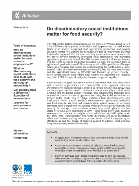 Do discriminatory social institutions matter for food security? cover image