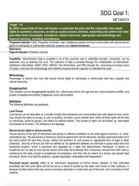 Global Land Indicator Initiative Metadata - SDG indicator 1.4.2. cover image