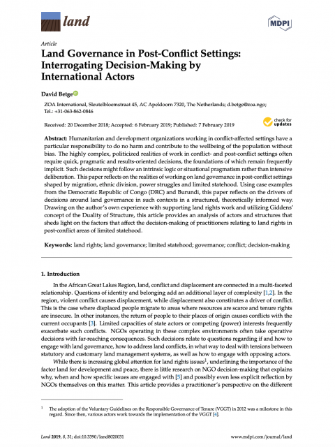Land Governance in Post-Conflict Settings: Interrogating Decision-Making by International Actors cover image
