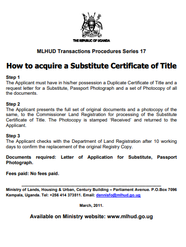 How to acquire a Substitute Certificate of Title